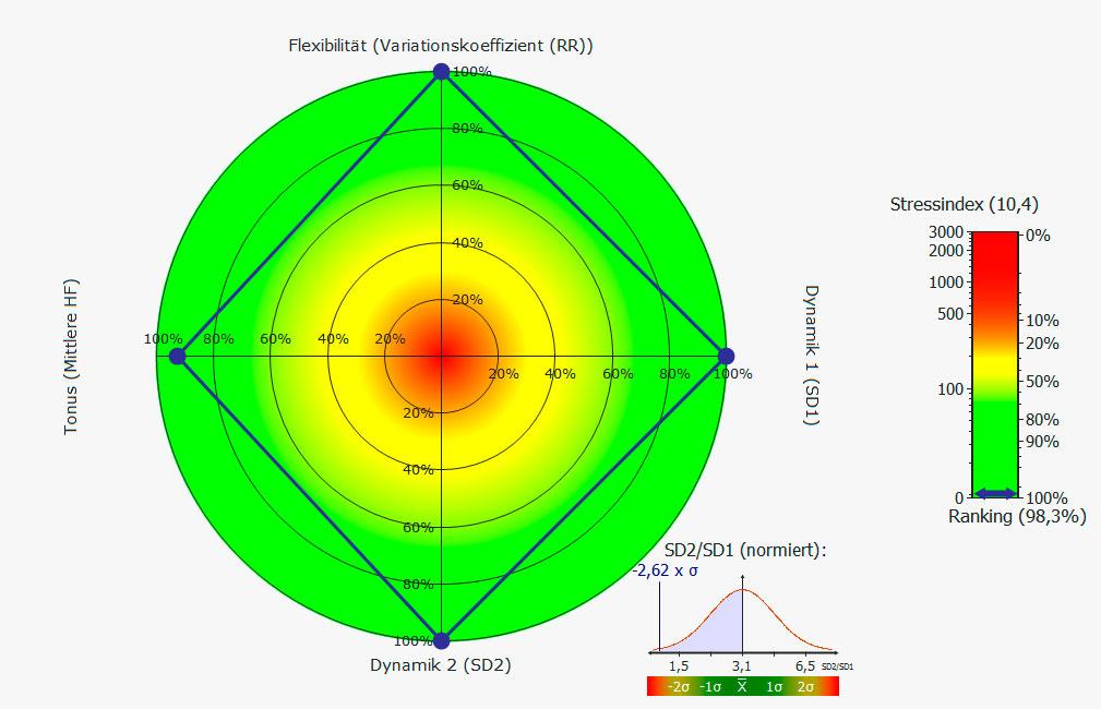 Arzt Praxis Gallwitz für Ernährungsmedizin: Stressmessung: HRV-Schema, gutes Ergebnis